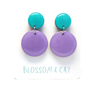 Moon Dot Dangle · Lilac + Aqua