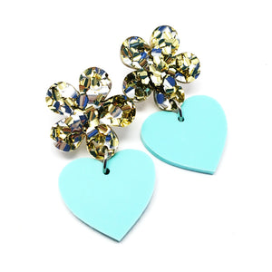 Flower Heart Dangles · Stardust + Mint
