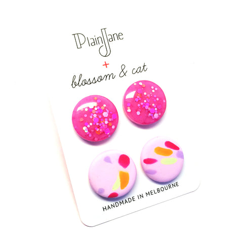 blossom & cat + Plain Jane · 'Sparkle & Spot' Stud Pack 10