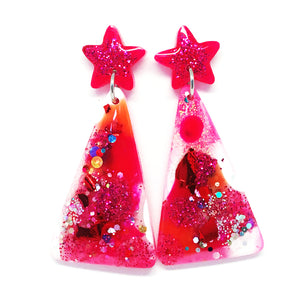 Christmas Tree Earring · Pinky Red