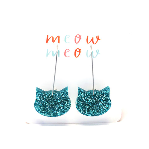 Cat on a Wire · Aqua Glitter