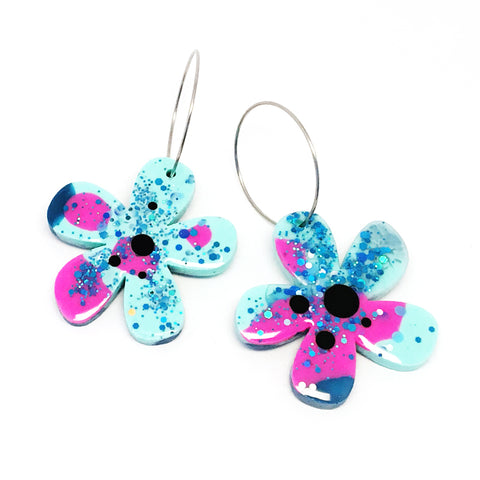 Resin · Flower Hoops · Blue