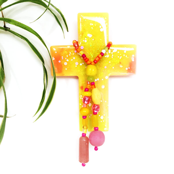 Resin Decorative Cross · Bead Garland · Yellow