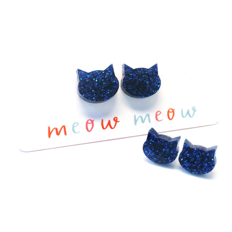 Cat Stud · Electric Blue Glitter
