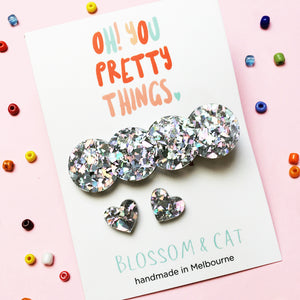Glitter Hair Clip & Heart Stud Pack · Lucy · Glitzy Silver