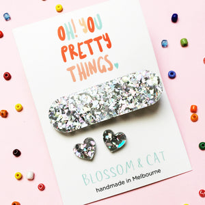 Glitter Hair Clip & Heart Stud Pack · Ivy · Glitzy Silver