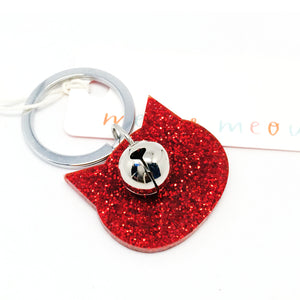 Glitter Cat Keyring · Ruby Red