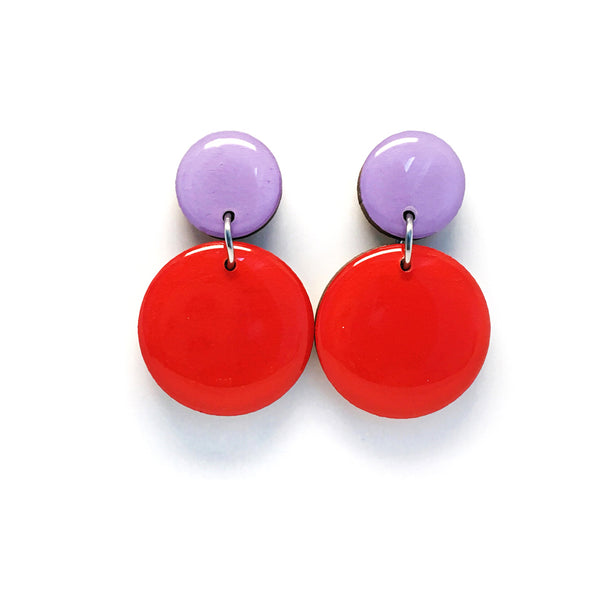 Pebble Dangles · Red + Lilac
