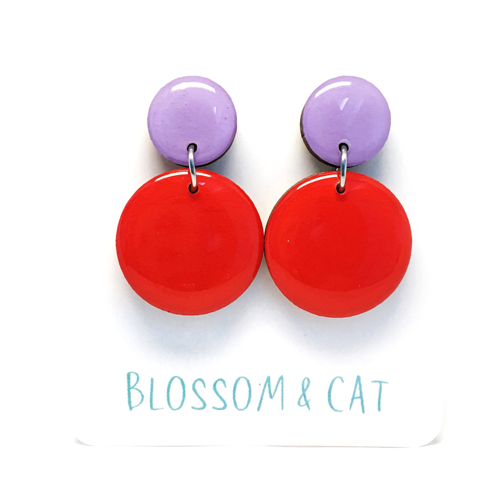 Moon Dot Dangle · Red + Lilac