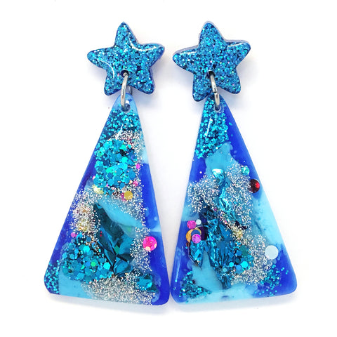 Christmas Tree Earring · Blue Silver