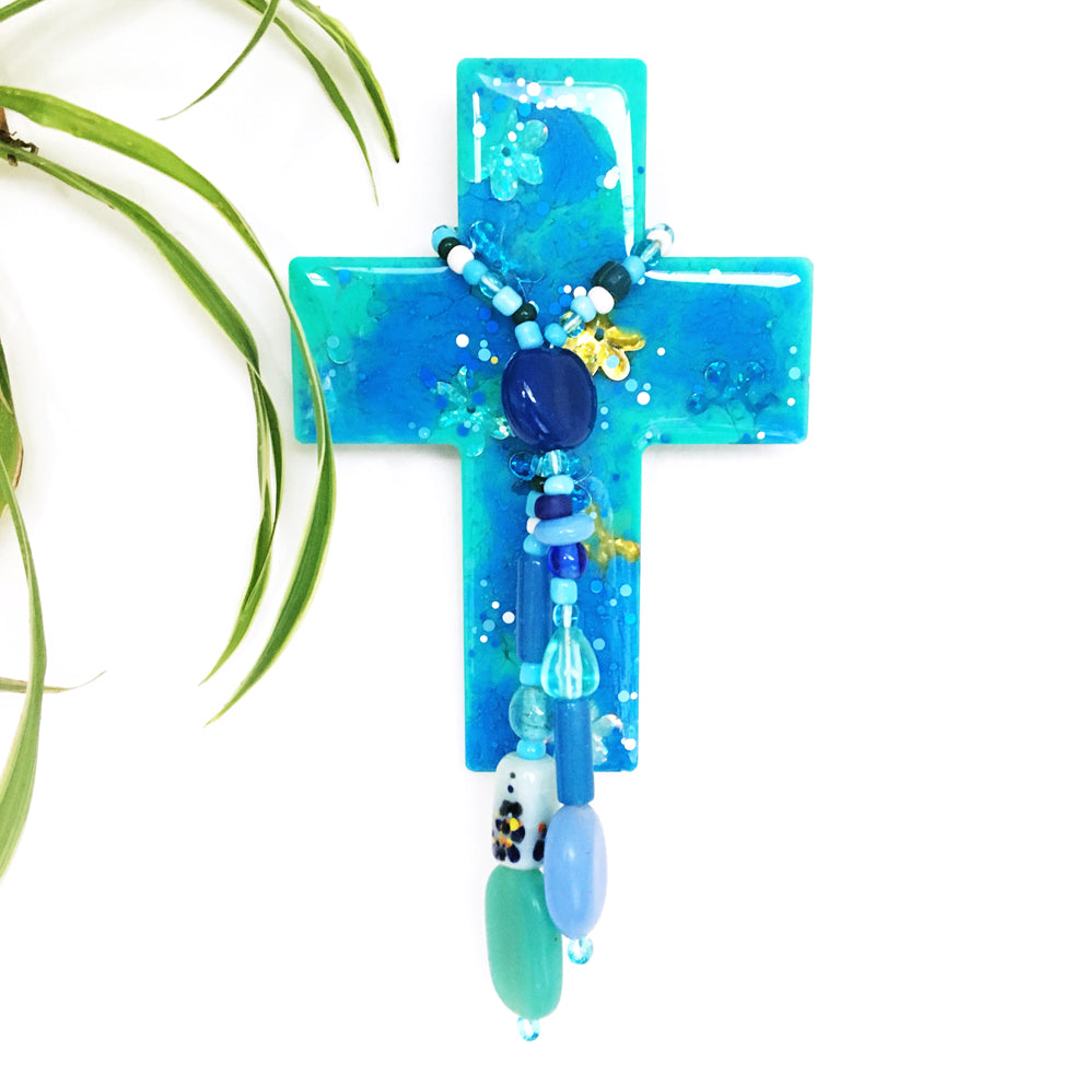 Resin Decorative Cross · Bead Garland · Blue