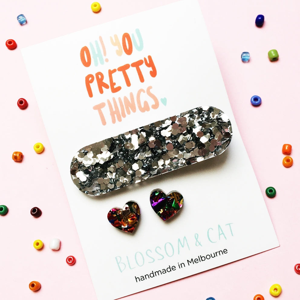 Glitter Hair Clip & Heart Stud Pack · Ivy · Fancy Silver