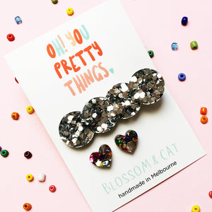 Glitter Hair Clip & Heart Stud Pack · Lucy · Fancy Silver
