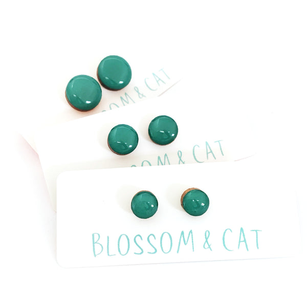 Dot Earrings · Teal