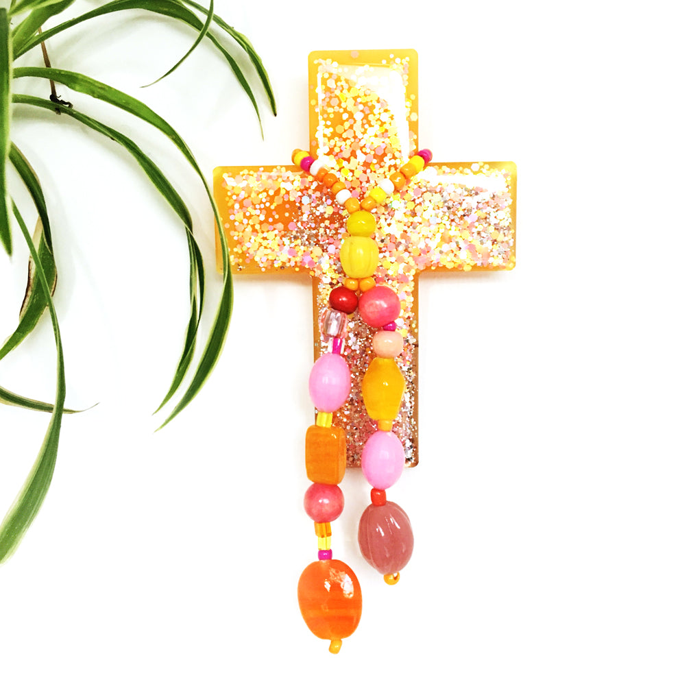 Resin Decorative Cross · Bead Garland · Yellow Apricot