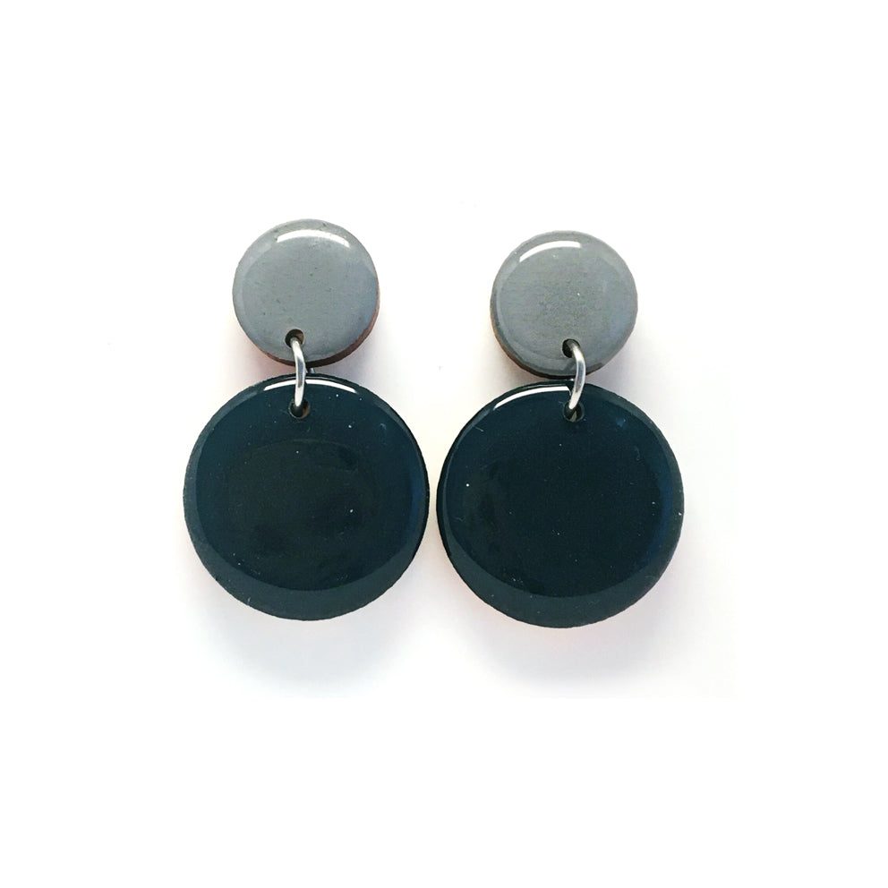 Pebble Dangles · Mineral Blue + Slate Grey