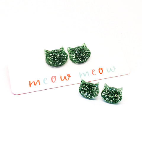 Cat Stud · Green Glitter