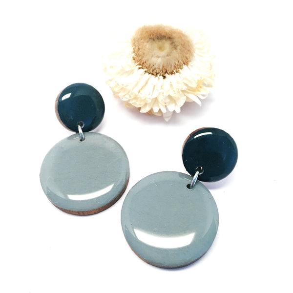 Pebble Dangles · Slate Grey + Mineral Blue
