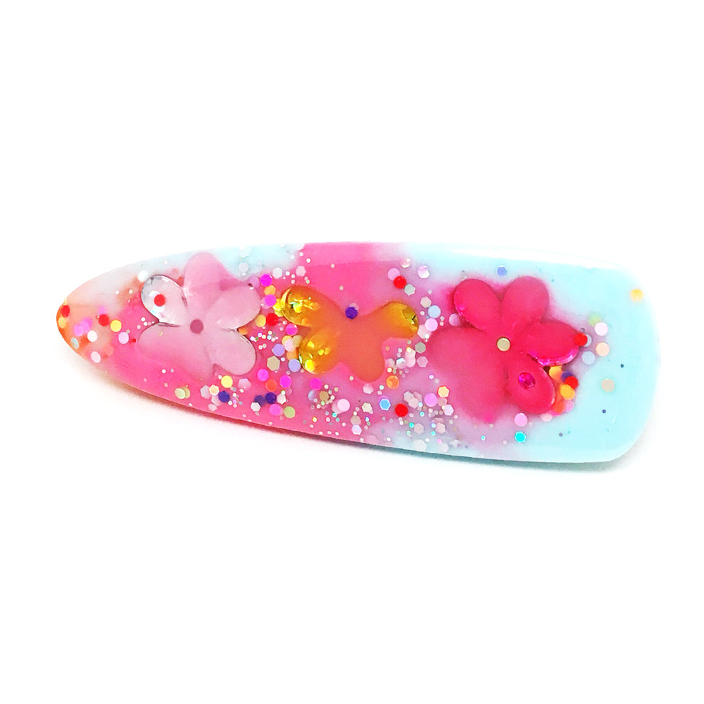 Resin Hair Clip · Ivy · Pinky Blue Flower · 15