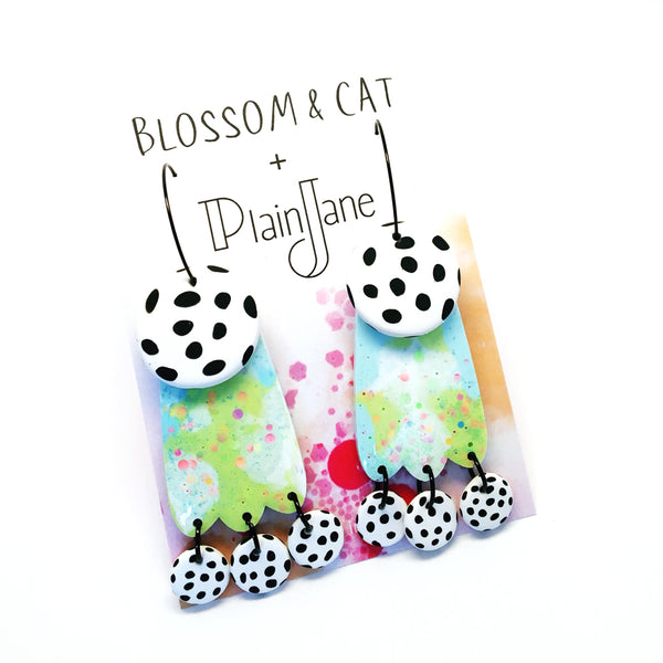 blossom & cat + Plain Jane · Lily Dangle · Lime Blue