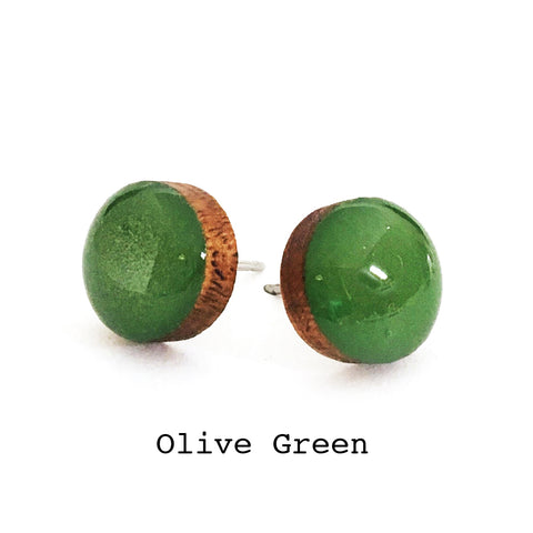 Dot Earrings · Olive Green
