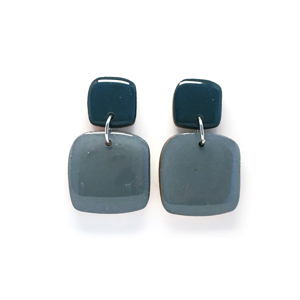 Pebble Dangles · Square · Slate Grey + Mineral Blue