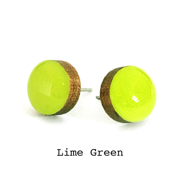 Dot Earrings · Lime Green