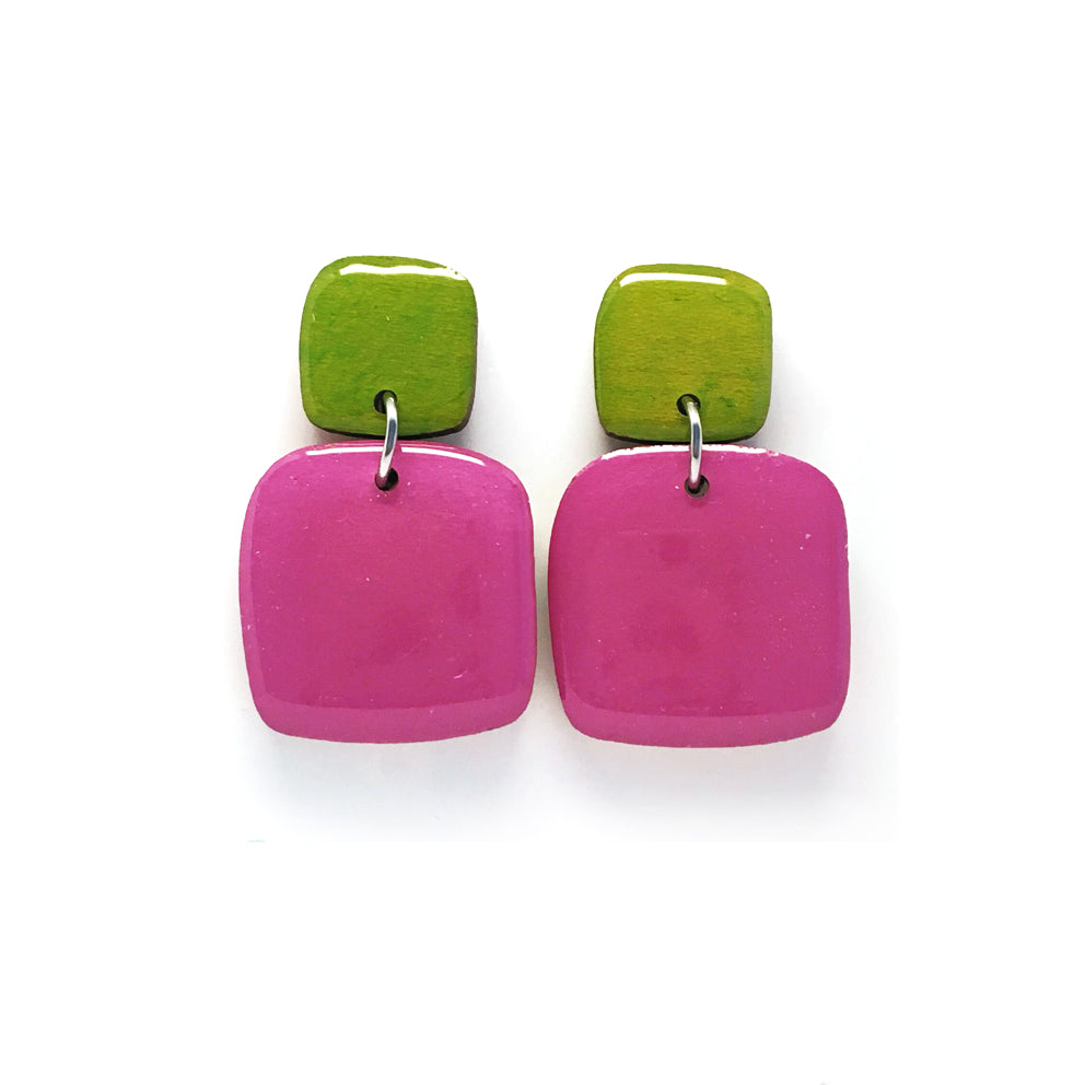 Pebble Dangles · Square · Lavender + Chartreuse
