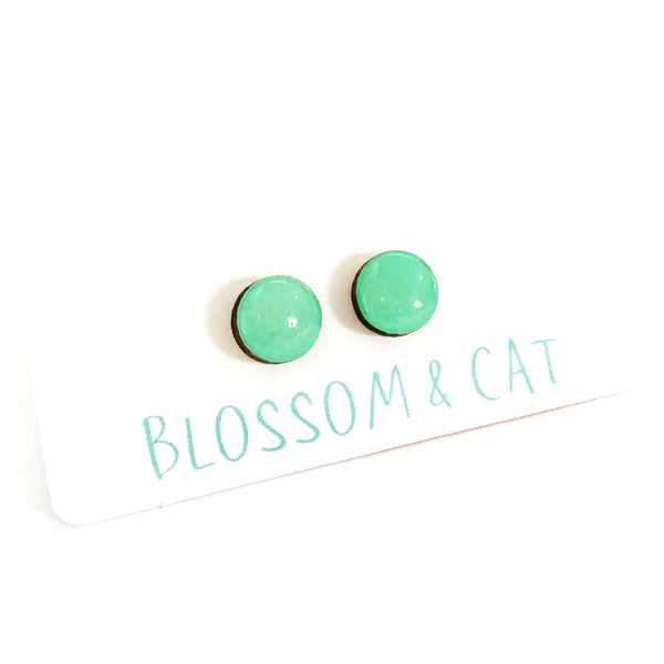 Dot Earrings · Mint
