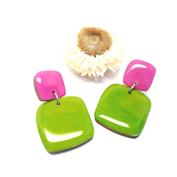 Pebble Dangles · Square · Chartreuse + Lavender