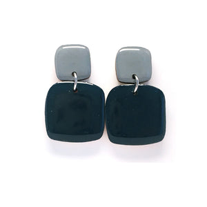 Pebble Dangles · Square · Mineral Blue + Slate Grey