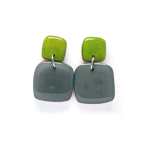 Pebble Dangles · Square · Slate Grey + Chartruese