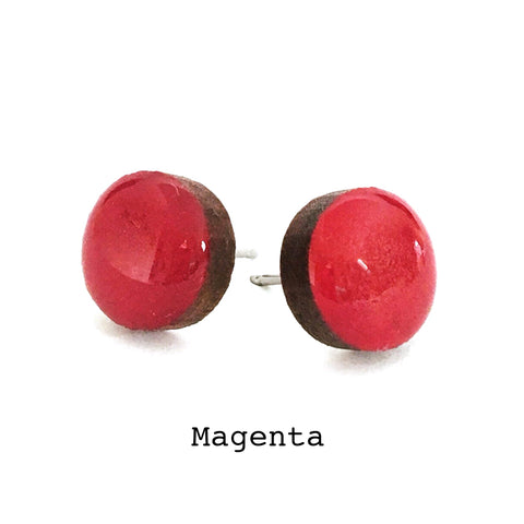 Dot Earrings · Magenta