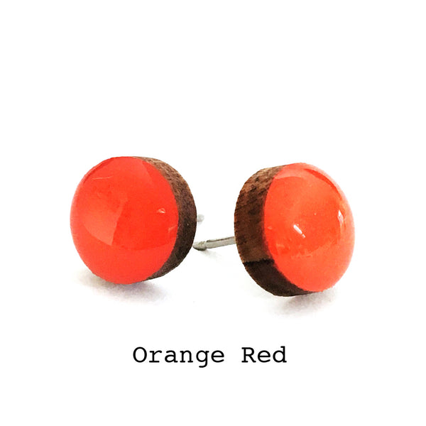 Dot Earrings · Orange Red