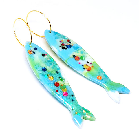 Resin · Sardine Earring · Greeny · 28