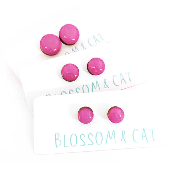Dot Earrings · Hot Pink