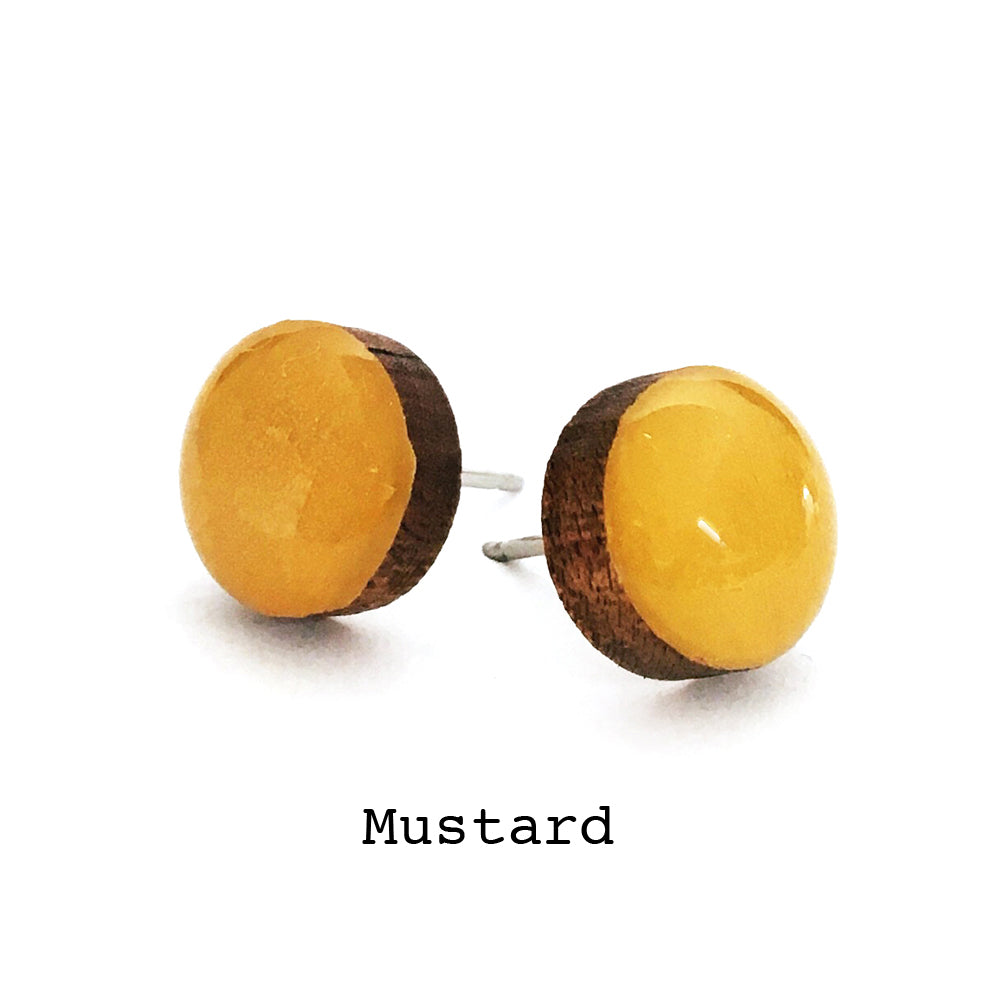 Dot Earrings · Mustard
