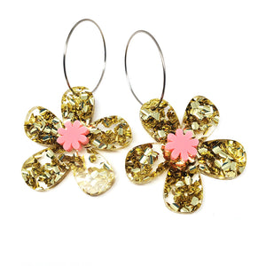 Daisy Hoops · Gold + Light PInk