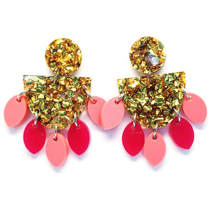 Medium Dangle · Sunflower · Gold & Pink