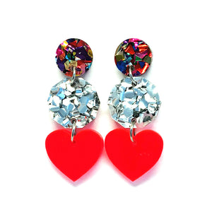 Mini Dangle · i heart you · Neon Red