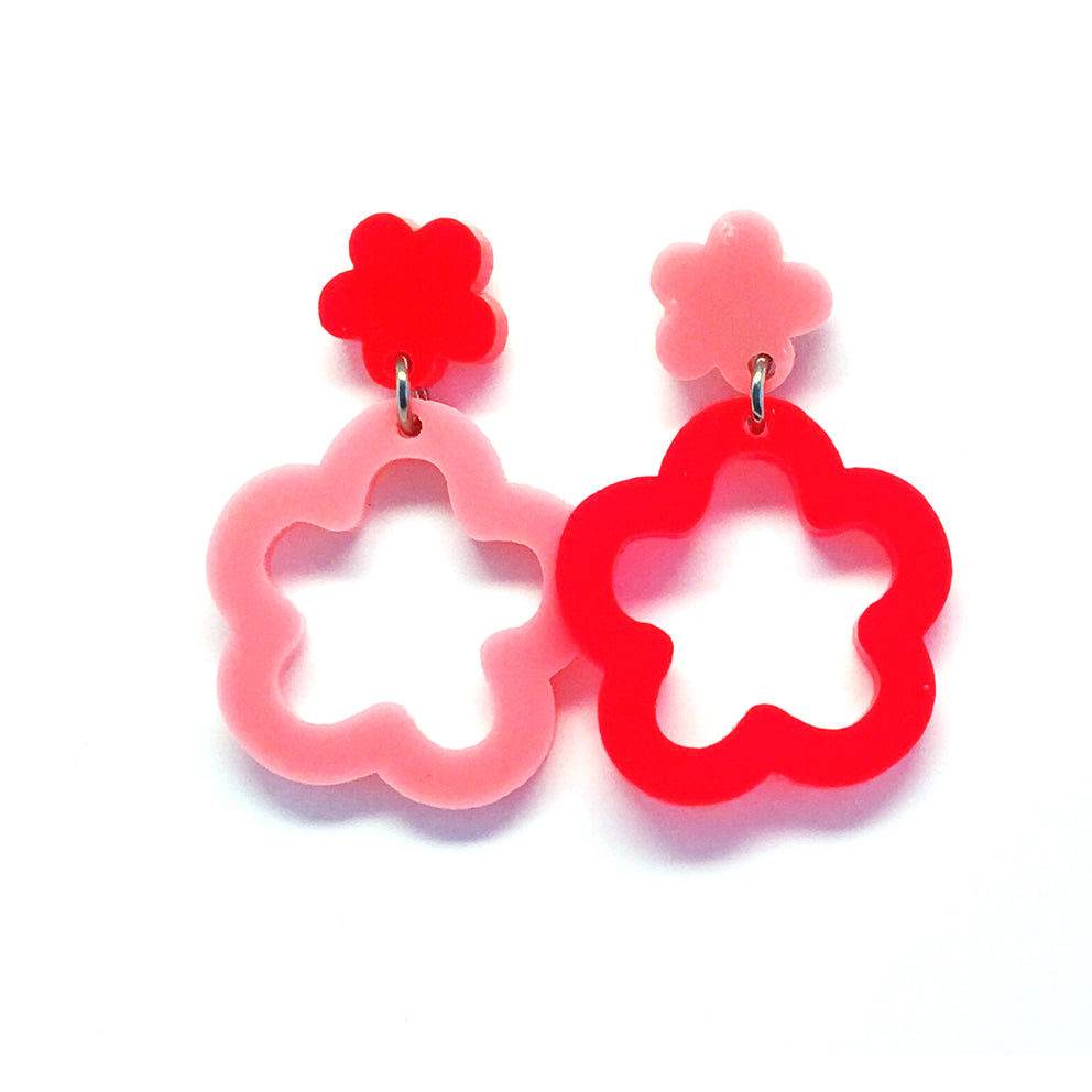 Mini Dangle · Daisy Hoops · Light Pink & Neon Red