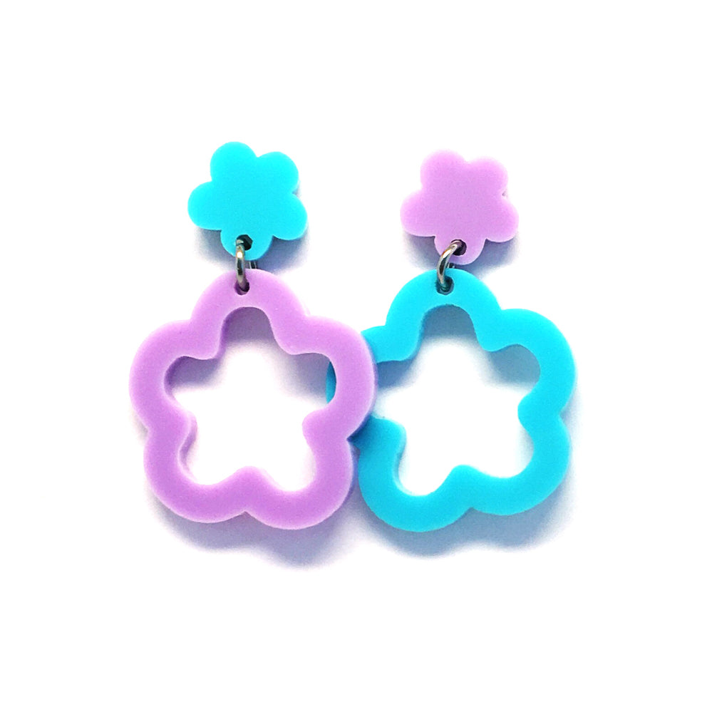 Mini Dangle · Daisy Hoops · Turquoise & Lilac