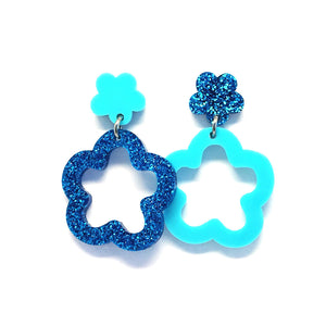 Mini Dangle · Daisy Hoops · Turquoise & Blue Glitter