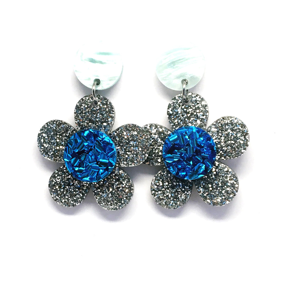 Mini Dangle · Flower · Silver + Blue
