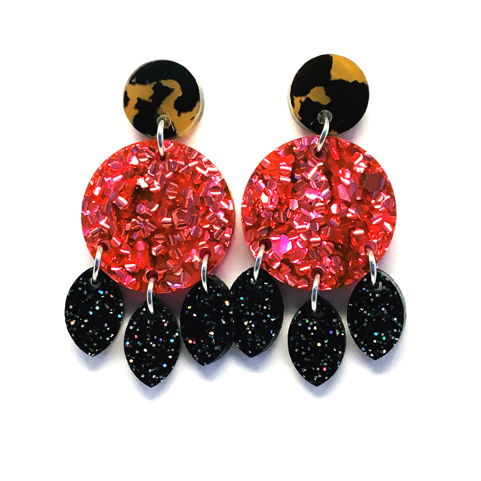 Mini Dangle · Droplets · Pink + Black