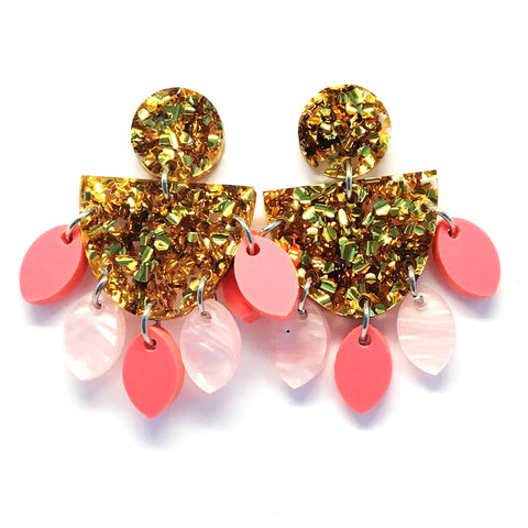 Medium Dangle · Sunflower · Gold + Pink