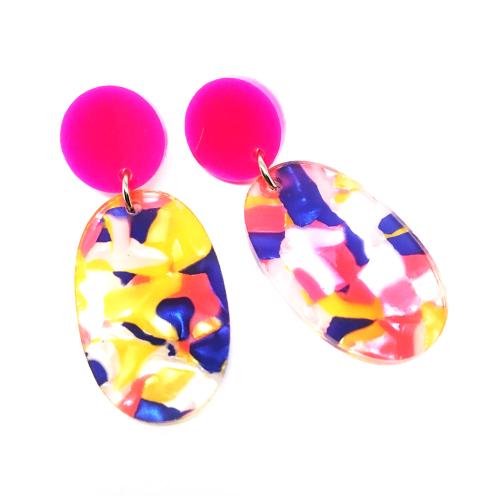 Pop Drop Dangles · Confetti + Hot Pink
