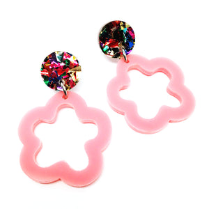 Mini Dangle · Daisy Hoops · Light Pink + Fireworks