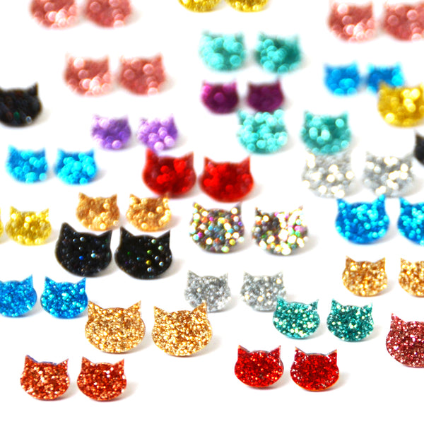 Cat Stud · Blue Glitter