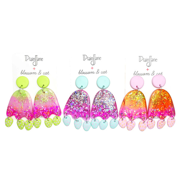 blossom & cat + Plain Jane · 'Sparkle & Spot' Lime Pink Dangle